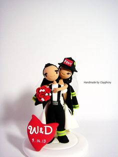 Firefighter customized wedding cake topper