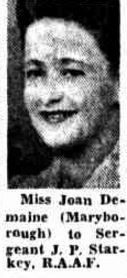 1943 Miss Joan Demaine engaged to Sergeant J P Starkey New Farm, Engagements, Engagement