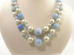 Baby Blue and Faux Pearl Multi Strand Vintage Necklace by bctreasuretrove