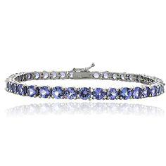 Glitzy Rocks Sterling Silver 11.25ct Tanzanite 4mm Round Tennis Bracelet | Overstock.com Shopping - The Best Deals on Gemstone Bracelets