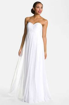 Love this sweetheart neckline and empire shape. #nordstromweddings