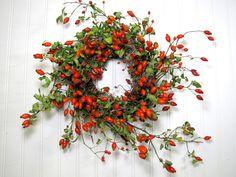 Rose Hip Wreath, Primitive Decor