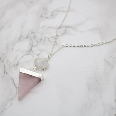 Rose Quartz and Moonstone Geometric Necklace. Gifts for Her Quartz Crystal Necklace, Moonstone Necklace, Rose Quartz Crystal, Pendant Necklace, Cute Jewelry, Jewelry Ideas, Geometric Necklace, Silver Necklaces, Beautiful Necklaces