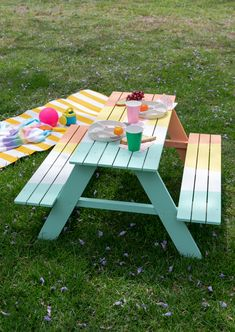 A Colorful Picnic Table for Your Kids. / DIY via Oh Joy! picnic table ideas A Colorful Picnic Table for Your Kids. / DIY via Oh Joy! Painted Picnic Tables, Diy Picnic Table, Picnic Table Plans, Kids Picnic, Backyard Picnic, Backyard For Kids, Cozy Backyard, Backyard Games, Kids Outdoor Table
