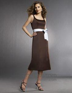 A-line Square Tea-length Satin Bridesmaid Dresses 15502095