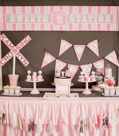 Amazing dessert table at a girl train birthday party! See more party ideas at CatchMyParty.com!