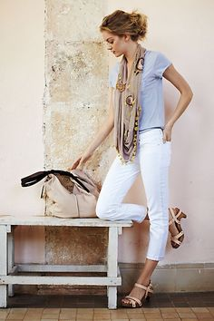 Clog sandals, white crop jeans, lavender T-shirt, scarf. Anthropologie
