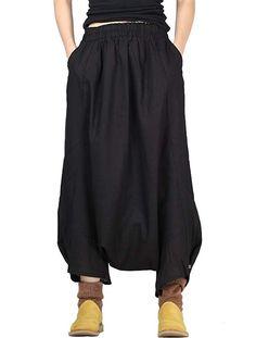 1643d2e4a2669c Mordenmiss Women's Drop Crotch Pants Linen Harem Drape Capri Culottes Style  2 Black