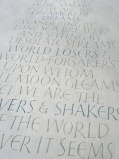 movers and shakers - brush lettering on handmade paper, gouache.