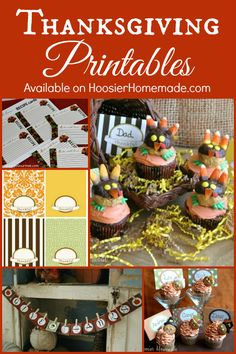 FREE Thanksgiving Printables including Place Cards, Recipe Cards and Banner! Pin to your Thanksgiving Board!