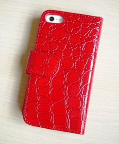 New Croco Flip Folio Wallet PU Leather Case Cover For iPhone 5 - Red