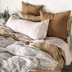 Luxurious European Linen Bedding & Linen Sheets - Mornings like these….Our entire pure linen collection is grown, spun, woven and sewn only in Euro - Farm Bedroom, Dream Bedroom, Home Decor Bedroom, Bedroom Rustic, Master Bedroom, Linen Sheets, Linen Bedding, Bed Sheets, Bedding Sets
