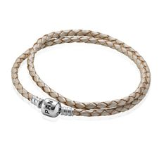 Pandora Double Woven White Leather and Silver Starter Bracelet 590705CPL-D at John Greed Jewellery