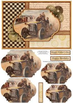 VINTAGE MOTOR RACING Quick Card Pyramage on Craftsuprint designed by Janet Briggs - Motor racing themed card topper with pyramage for added depth.Features a vintage painting of motor racing.3 sentiment tags, including one blank. The others read,Happy BirthdayHappy Father's Day - Now available for download!