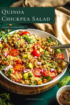 This quinoa chickpea salad tastes light, refreshing and serves as a perfect addition to a summertime lunch meal. It's gluten-free, plant-based friendly and guilt-free. #Quinoarecipes #chickpearecipes #veganlunchideas #summerrecipes #saladideas Lunch Recipes, Summer Recipes, Whole Food Recipes, Great Recipes, Dinner Recipes, Dessert Recipes, Quinoa Chickpea Salad, Chickpea Recipes, Delicious Vegan Recipes