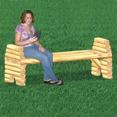 "Landscape Timber Bridge Bench Plan  Simple, elegant & strong that will brighten up any yard or garden. 27""H x 72""W x 24""D   Plan #2459  $12.95  ( crafting, crafts, woodcraft, pattern, woodworking, yard art, landscape timber, planter ) Pattern by Sherwood Creations"