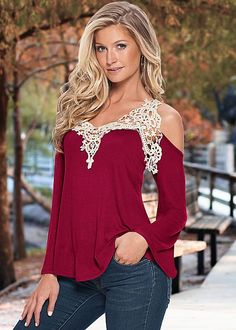 For a casual yet eye-catching look, pair our crochet bell sleeve top with any pair of jeans and some boots!