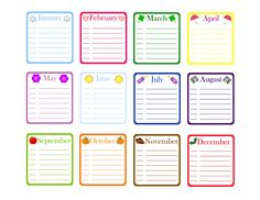 birthday calendar template cards and party planning pinterest