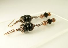 Black and Copper Earrings Dangle Beaded Earrings by BobblesByCarol