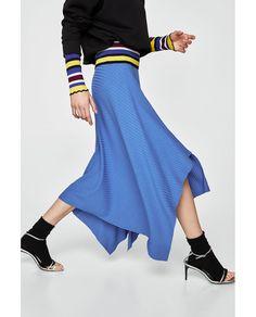 画像 4 の リブ編みアシンメトリースカート ザラから