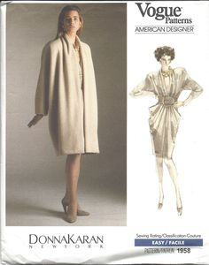 Donna Karan dress and coat pattern - Vogue 1958 Coat Pattern Sewing, Coat Patterns, Jacket Pattern, Donna Karan, Vogue Patterns, New York Vintage, Draped Dress, Vintage Patterns, American