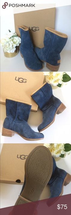 [ Ugg ] Cyrinda Stacked Heel Blue Mid-calf bootie UGG authentic Cyrinda boots Sz 6.5 new Overlock-stitched suede boot in a mid-calf style. Plush, 100% wool UGGpure lining feels and wears like like no other bootie. Super cute style. NWOB UGG Shoes
