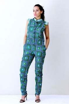 50 Beautiful Jumpsuit Ankara Styles For The Weekend - iFashy : 50 Beautiful Jumpsuit Ankara Styles For The Weekend - iFashy African Dresses For Women, African Print Dresses, African Print Fashion, Africa Fashion, African Attire, African Wear, African Women, Ankara Fashion, African Prints