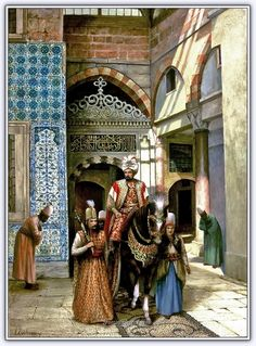 Ottoman Sultan with his guards- by Ressam Kamil Aslanger Empire Ottoman, Arabian Art, Islamic Paintings, Exotic Art, Pics Art, Turkish Art, Historical Art, Arabian Nights, Renoir