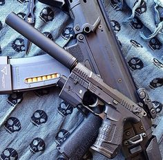 (Supressed Walther .22 with laser and Bushmaster ACR) pistol, guns, weapons, self defense, protection, carbine, AR-15, 2nd amendment, America, firearms, ammunition, bullets, catridge, munitions #guns #weapons