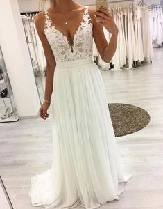 White v neck lace chiffon long prom dress, white lace evening dresses, Wedding Gown affordable wedding gowns Lace Beach Wedding Dress, Long Wedding Dresses, Bridal Dresses, Wedding Gowns, Prom Gowns, Formal Dresses, Lace Wedding, Elegant Dresses, White Prom Dresses