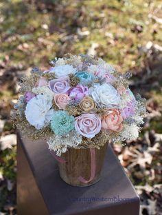 Wedding Bouquet Mint Peach Bouquet Spring Bouquet Pastel Bouquet by CountryWesternBlooms