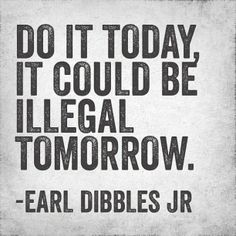 Do it today, it could be illegal tomorrow. - Earl Dibbles Jr.