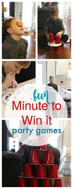 Super Indoor Birthday Party Games For Kids Boys Minute To Win It Ideas Birthday Party Games Indoor, Family Party Games, Dinner Party Games, Graduation Party Games, Party Party, Birthday Crafts, Kids Party Games Indoor, Birthday Wishes, Birthday Bash