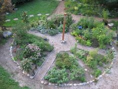 Medicine Wheel Garden.? Put in front of potting shed with fun trellis or shovel flower in center or unique large bird bath or church bird house on wagon wheel base. Could use old street bricks for paths or shaped cement mold forms.