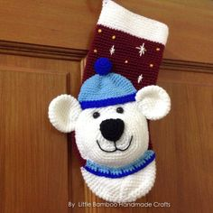 This is a DOWNLOADABLE PATTERN. Written in English using US terminology.  Christmas is coming. This polar bear Christmas stocking will