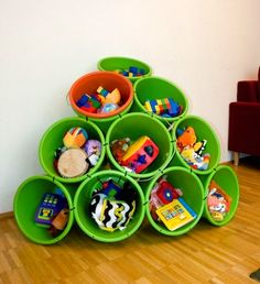 Buckets tied together with zip ties and used for toy storage. Love it!