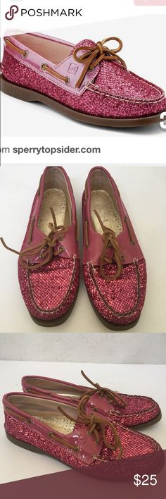 Sparkly glitter pink Sperry Top Sider boat shoes 8 Think pink all you preppy princesses in these adorable sparkly pink glitter Sperry Top Sider boat shoes in size 8! Excellent pre owned condition. Leather laces in great shape and glitter is not rubbed off! Sperry inside label tht is printed on insole is worn off and two flaws on bottom of the soles are the only flaw and you can't even see them when these shoes are in! Size 8. No box  Sperry Top-Sider Shoes