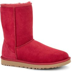 UGG Women's Classic Short Burgundy Wine Boots ($130) ❤ liked on Polyvore featuring shoes, boots, red, patent leather boots, burgundy shoes, red low heel shoes, patent boots and short heel shoes