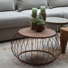 Beistelltisch Couchtisch BRUNO Ø 70 cm Metallkorb Anstelltisch Kaffeetisch Holz | Beistelltische | Tische | Wohnen | Maison ESTO | Ihr großer Möbel Online-Shop