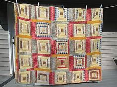 Antique 2 Sided Log Cabin & Patchwork Quilt - 67 by 73, eBay, torrey2-gg