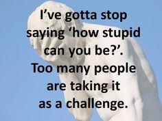 Мне пора перестать спрашивать: насколько тупым ты можешь быть? Слишком много людей воспринимают это как вызов.     #learningenglish #english #школаиностранныхязыков #курсыанглийского #репетиторпоанглийскому #английскийпоскайп #английскийкурсы #английскийдлявзрослых #деловойанглийский #businessenglish #funnyenglish