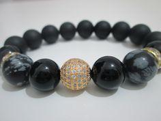 Onix,Onix esmerillado y Obsidiana copo de nieve piedras semipreciosas de Lenajoyas en Etsy