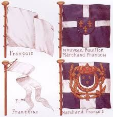 """French flags, around 1690 - """"At upper left is the solid white flag used by the… Merchant Navy, Merchant Marine, Blue And White Flag, French Army, Army & Navy, American Revolution, 17th Century, Amazing Art, Flags"""