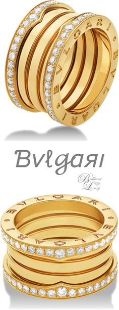Bvlgari B.zero1 4-band ring in 18 kt yellow gold with pavé diamonds on the edges