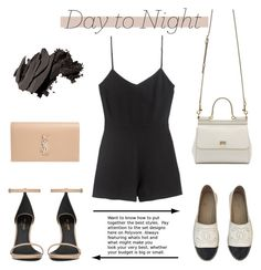"""""""Day To Night Romper #129"""" by vbasianioti ❤ liked on Polyvore featuring Chanel, Dolce&Gabbana, Yves Saint Laurent, Bobbi Brown Cosmetics, DayToNight and romper"""