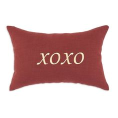 Chooty Circa Linen Lava S-Backed XOXO Embroidered D-Fiber Hypoallergenic Pillow,