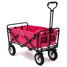 Pink Mac Sports Collapsible Folding Utility Wagon Garden Cart Shopping Beach This wagon is made from durable 600D polyester fabric and a strong steel frame. It folds to only 8″ thick for easy storage at home or in your car! Great for carrying sports gear, camping gear, beach gear, groceries and also for yard work. Wagon folds to only 8″ thick, Weight capacity of 150 lbs Wagon folds to only 8″ thick, Weight capacity of 150 lbs Folding feature provides for easy storage in closet, on t..