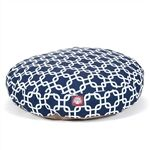 Small Round Pet Bed Navy Blue Links