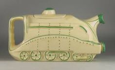 Sadler Mallard Locomotive teapot ... art deo influence train engine shape with squared off handle at the rear, in cream and green, c.1937-8, ceramic, UK