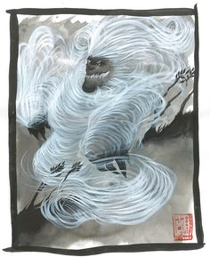 Japanese Mythology - Enenra is a monster comprised of smoke and wind. It lives in bonfires and only appears to those who are pure in character.